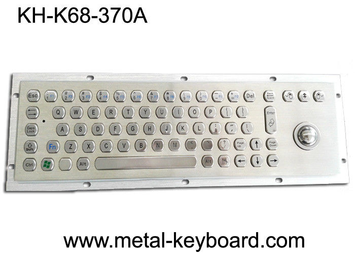 70 Keys Industrial Metal Computer Keyboard with Trackball / Stainless Steel Kiosk Keyboard