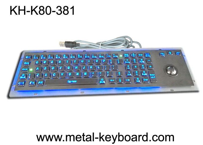 SS Industrial Metal Computer Keyboard With Trackball , Standard USB Or PS2 Output Support